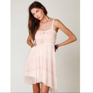 Free People pink strapless watercolor tube dress